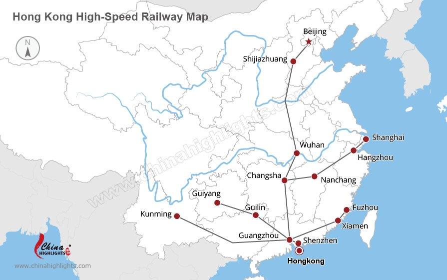 hong kong high speed rail map, China bullet train