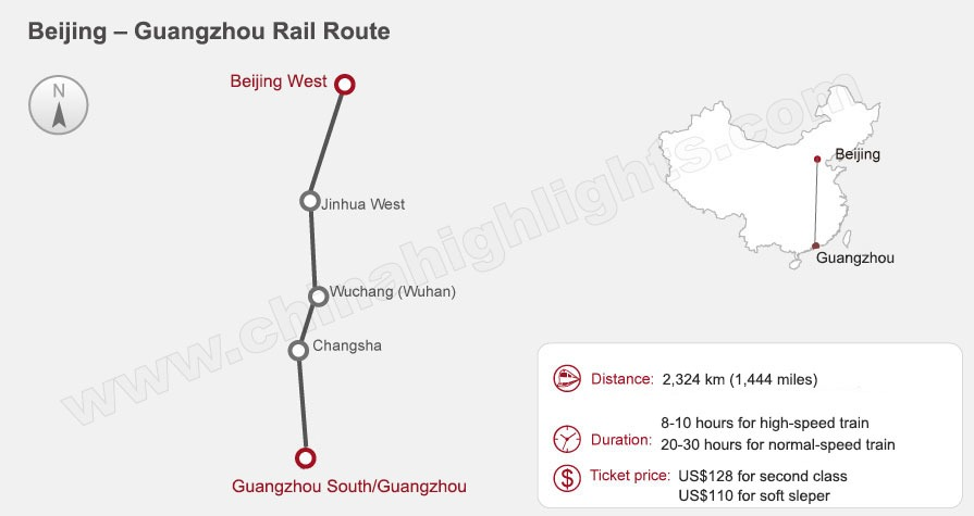 Beijing to Guangzhou High-Speed Train Route Map, China train