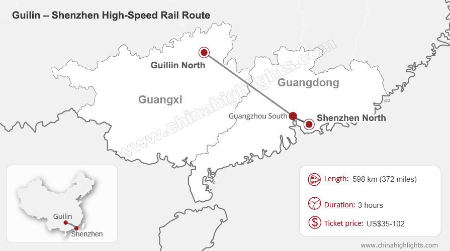 Shenzhen to Guilin High-Speed Train Route Map, China train