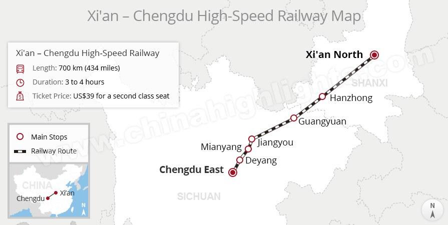 xian to chengdu high-speed rail map