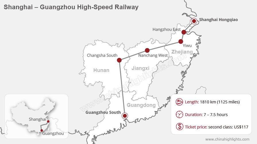 shanghai to guangzhou high speed rail map, China bullet train