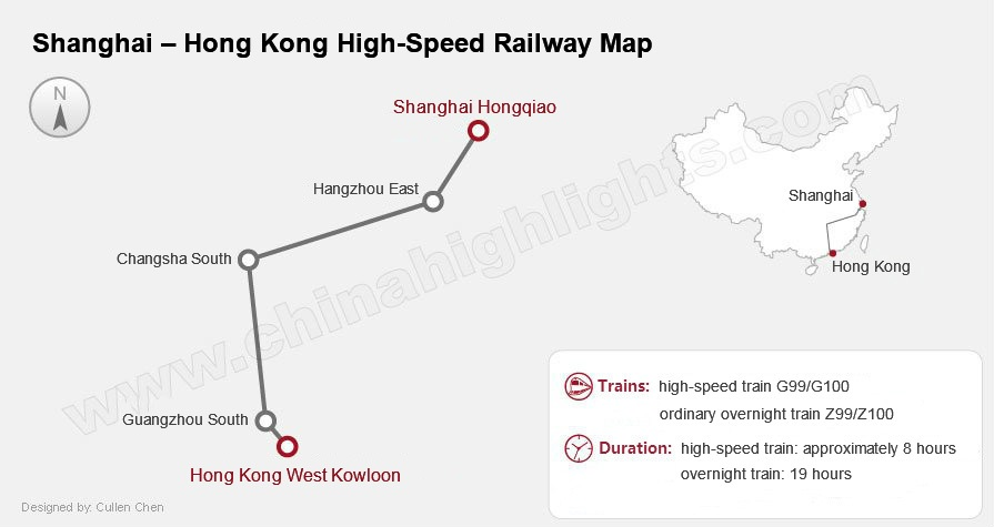 shanghai hong kong train railway map, China Bullet Train