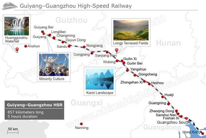Guiyang - Guangzhou High-speed Railway Map