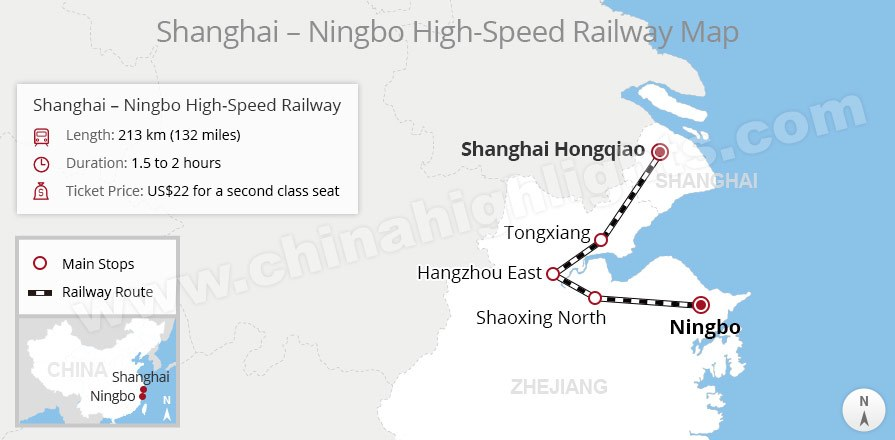 shanghai to ningbo rail route map