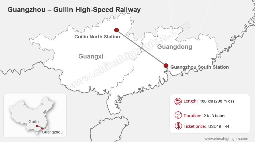 Guangzhou to Guilin High-Speed Railway Map