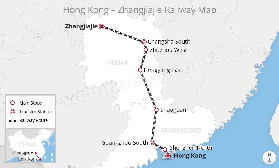 hong kong to zhangjiajie high-speed train route map, China train
