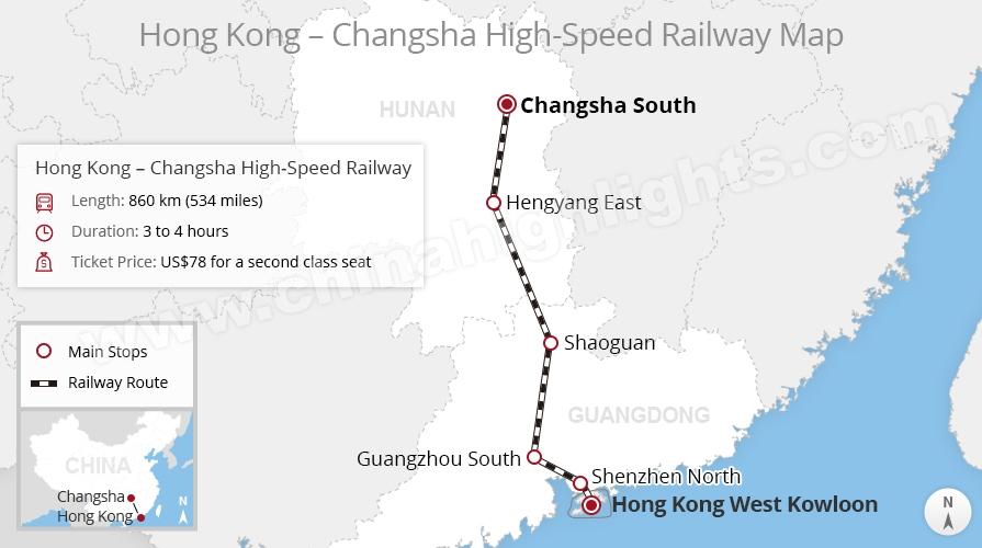 Hong Kong to Changsha High-Speed Train Route Map, China train