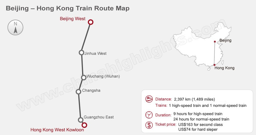 Beijing to Hong Kong High-Speed Train Route Map