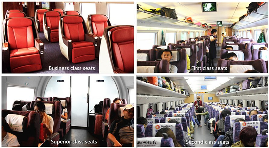 four kinds of seat classes on high speed train