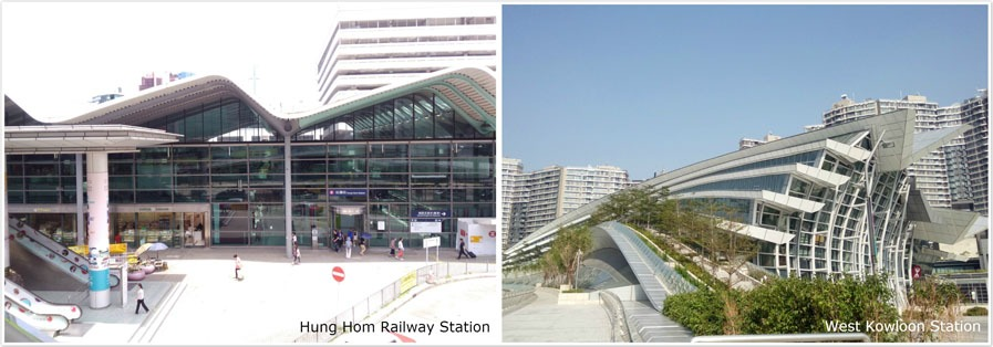 hung hom railway station and west kowloon station