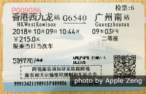 high-speed train ticket to hong kong