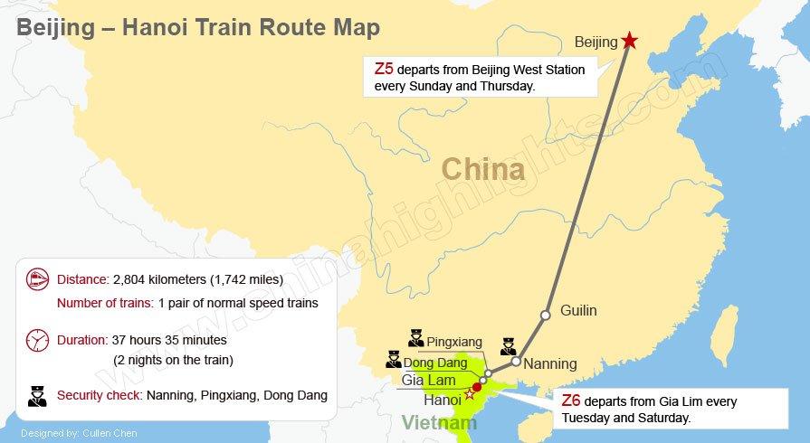 Beijing, China - Hanoi, vietnam train route map