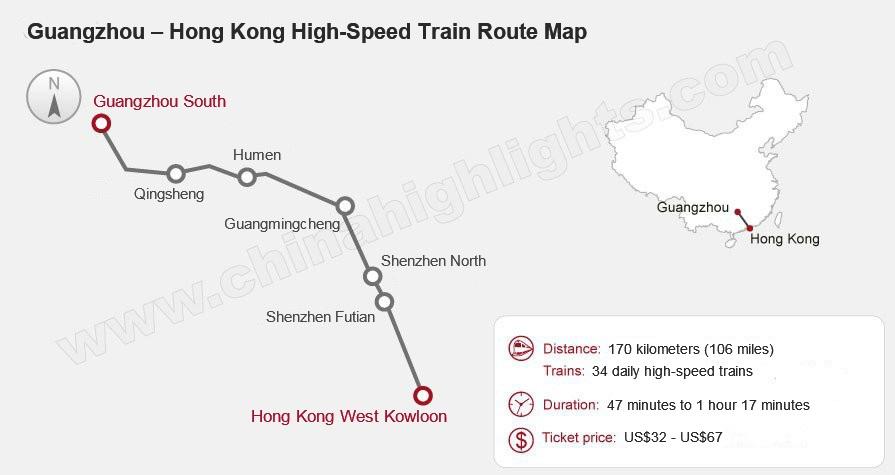 Guangzhou to Hong Kong High-Speed Train Map