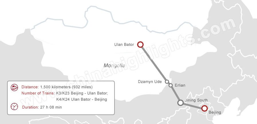 Beijing to Ulan Bator Train Map