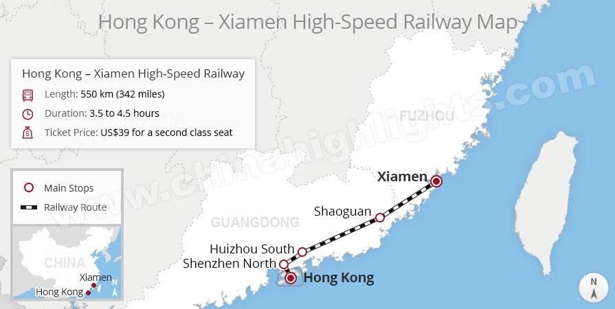 Hong Kong to Xiamen High-Speed Train Route Map, China train