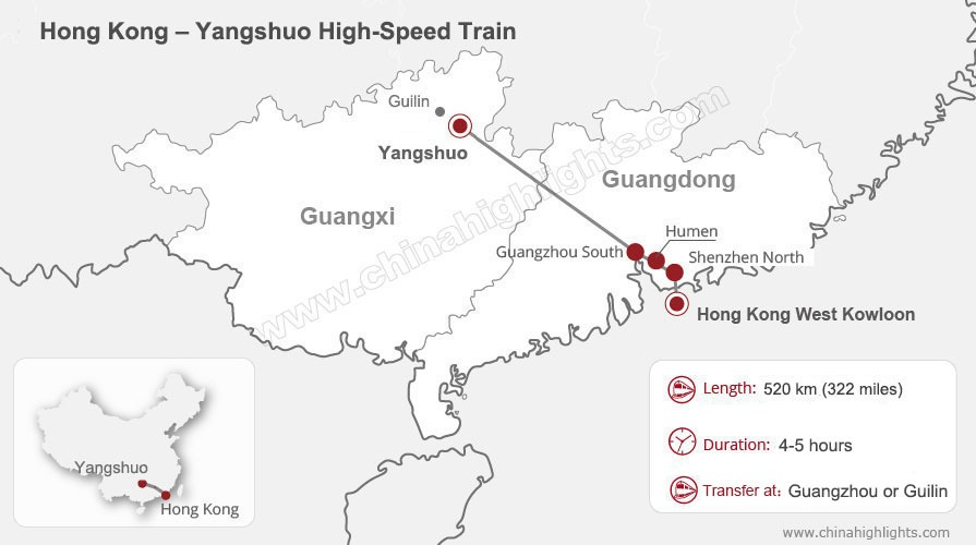Hong Kong to Yangshuo High-Speed Railway Map
