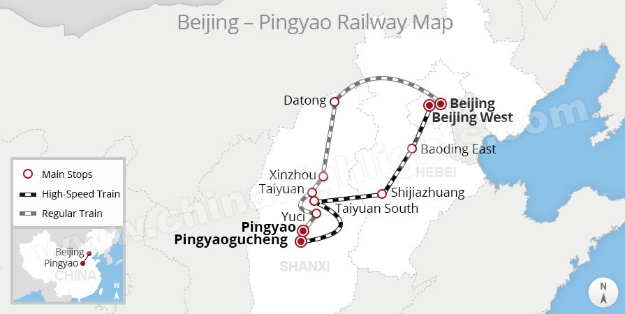 beijing to pingyao rail route map