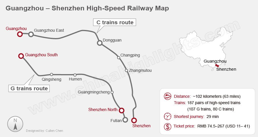 Guangzhou to Shenzhen high speed railway map, China bullet train
