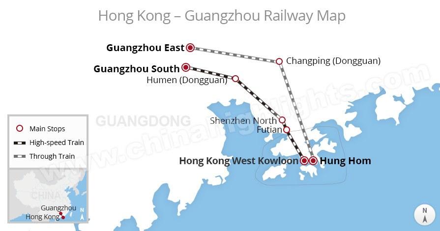hong kong to guangzhou train route map, China train